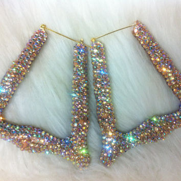 "Bling Bamboo hoop earrings 4""  Gem pastel color handmade w/ Swarovski element"