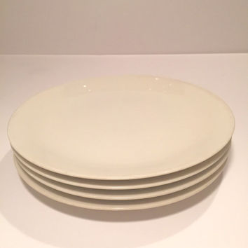Four Salad Plates Impromptu True China by Iroquois Ben Seibel Design Made in the U. S. A./White 8 inch Salad Plates