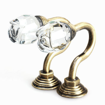 2PCS Vintage Crystal Wall Tieback Curtain Hook Tassel Towel Hanger Bronze