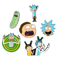 Hfarich Rick and Morty Classic Cartoon icons Style Enamel pin Badge Buttons Brooch Anime Lovers Shirt Denim Jackets lapel pin