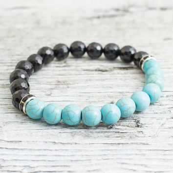 Faceted black onyx and turquoise beaded stretchy bracelet, made to order yoga bracelet, mens bracelet, womens bracelet