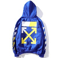 OFF-WHITE Tide brand men and women string logo arrow hooded sweater blue