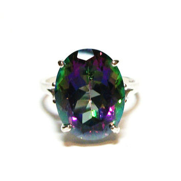 "Mystic topaz, topaz, topaz ring, cocktail ring, rainbow topaz, green blue purple,  s7 1/2  ""Colors of Royalty"""