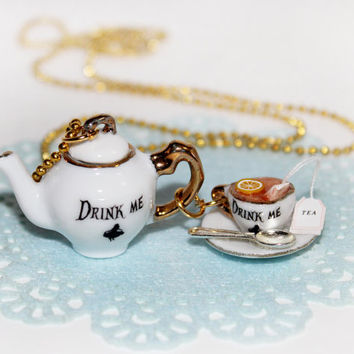 Alice in Wonderland Necklace -Tea Party Necklace - Food Necklace -  Kawaii Necklace - Eat Me Drink Me Necklace - Alice in Wonderland Jewelry