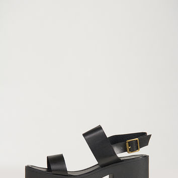 Simple Banded Chunky Heel Sandals - 9