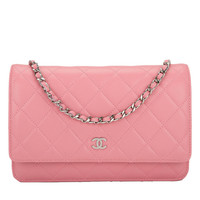 Chanel Blush Pink Lambskin Wallet On Chain (WOC)
