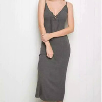 V-neck Cotton Spaghetti Strap Backless Dress One Piece Dress [4918734916]