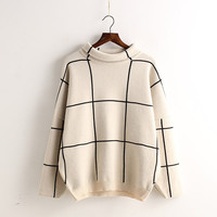 Profile Plaid High Collar Pullover Knit Sweater
