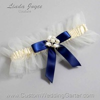"Navy Blue and Ivory Tulle Pearl Bridal Garter ""Natalie 20"" Silver"