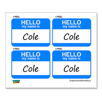 Cole Hello My Name Is - Sheet of 4 Stickers
