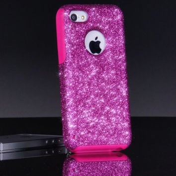 Otterbox iPhone 5c Case Custom Glitter Commuter Raspberry/Pink iPhone 5c Otterbox Sparkly Bling Glitter Case