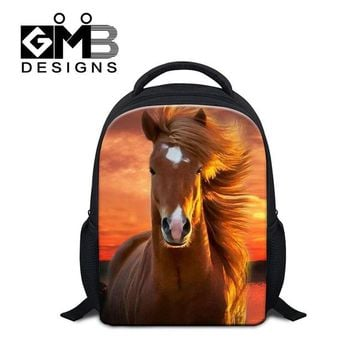 Boys bookbag trendy small personalized backpacks for Kids Animal 3D Printed School bags for Little Boys Horse s Girls Ultra Light Day Pack AT_51_3