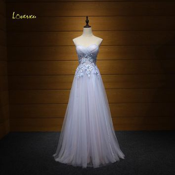 Loverxu Romantic Strapless Pleated A-Line Prom Dresses 2017 Graceful Appliques Beaded Celebrity Dress Vestido de Festa Plus Size