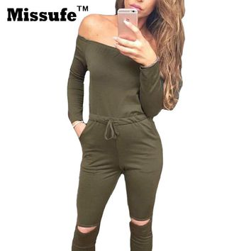 Missufe 2XL Womens Bodysuit Sexy Cut Out Bodycon Bandage Overalls Female Jumpsuit Slash Neck Casual 2017 Womens Tracksuit