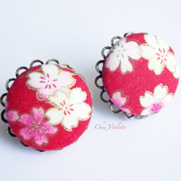 Red Floral Stud Japanese fabric earrings Fabric Button earrings Romantic Studs - medium size