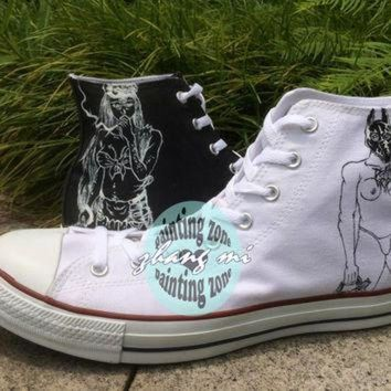 ESBONB Customizable Converse All Star Hand Painted Band Canvas Sneaker for Men Women