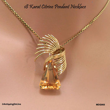 18K Citrine Pendant Necklace Mid Century Modern 18 Karat Yellow Gold Citrine Pendant Necklace November Birithstone Gift for Her