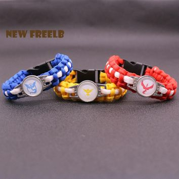 Hot Game Go Team Valor Mystic Instinct Logo Paracord Bracelet Rope Chain Outdoor Fashion Jewelry for Women and Men fans