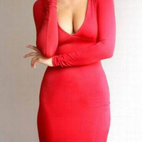 Red Plunging Neckline Long Sleeve Bodycon Dress