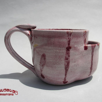 Teabag Mug  Pink and Maroon by MudbugCreations on Etsy