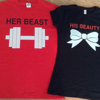 Free/Fast Shipping for USHis Beauty And Her Beast  Matching Couples Tank Tops/Shirts: Black and Red(blk/white and red/white decal)