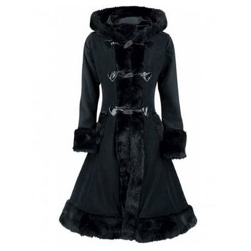 Trendy Sisjuly Gothic Black Faux Fur Hooded Parka coat  Autumn Winter Lace Up Buttons Padded Coat Long Slim Overcoat Women Thick Jacket AT_94_13