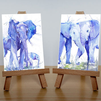 ACEO  Art Prints, wild animals, watercolor, ATC, Artist Trading Cards, Giclee, Set of 2 Signed, collectible card, elephants