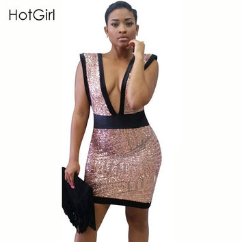 Summer Womens Geometric Backless Luxury Brand Sequins Deep Plunge Sexy Bodycon Dress Zipped Back Mini Party Dresses