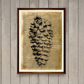 Pine cone poster Botanic decoration Dictionary page Forest print  WA838