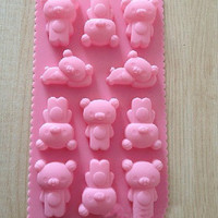 11-cavities Cute Bear Mold Cake Mold Mould Soap Mold Silicone Mold Flexible Mold