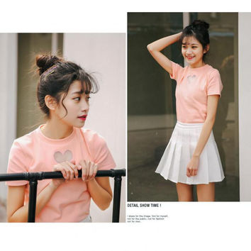 Summer 2016 Cotton TShirt Women Heart Shape Hollow Pink T Shirt Women Korean style Kawaii Top Tee Shirt Femme Free Shipping