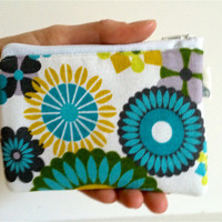 Coin Purse Coin Bag Small Cosmetic Clutch in Blue Flower Power