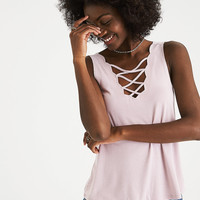 AEO Soft & Sexy Scalloped Double-V Tank, Pink