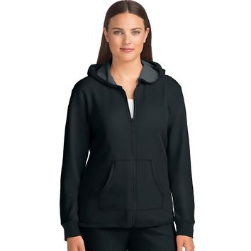 Hanes Women's French Terry High Low Zip Hoodie - Black