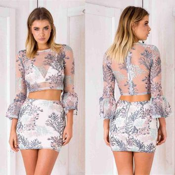 Sexy Womens 2pcs Set Holiday Floral Skirt + Crop Top