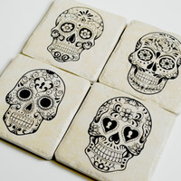 Day of the Dead Sugar scull el muerte Halloween Coasters