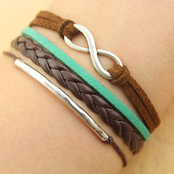 infinity bracelet-- personality syphon bracelet,silver charm bracelet,mint green cord, brown braid leather bracelet,MORE COLORS