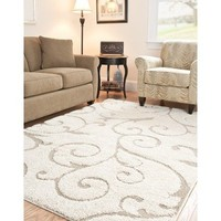 Safavieh Florida Shag Collection SG455-1113 Cream and Beige Area Rug, 8 feet by 10 feet (8' x 10')