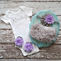 Baby Girl Take Home Outfit Newborn Baby Girl Custom Onesuit Bloomers Headband Sandals Set Lavender Grey Silver Customized Onesuit