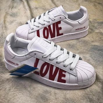 sale retailer b2c80 80fd2 Adidas SUPERSTAR 80s HH W Love AQ6168 White Red Shoes - Sale