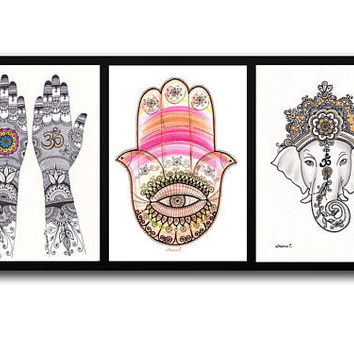 Hamsa Hand Ganapati Painting, Henna hands Art, Ganesha Painting, Set 3 paintings, Set of 3 Wall art, Buddha painting, Yoga asana painting