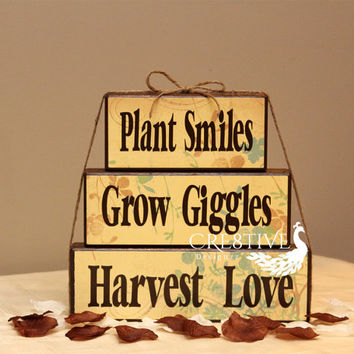 Thanksgiving Wood Blocks Decor Plant Smiles ~ Grow Giggles ~ Harvest Love