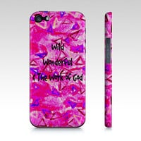 WILD WONDERFUL WORK of God Christian Art iPhone 4 4s 5 5s 5c 6 Case Hot Pink Purple Ombre Geometric Triangle Faith Belief Religious Bible