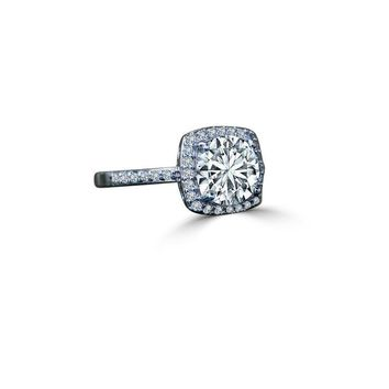 0.50 CT. Intensely Radiant Cushion Square Center Halo Settings Diamond Veneer Simulated Diamond Set in Sterling Silver Ring. 635R203