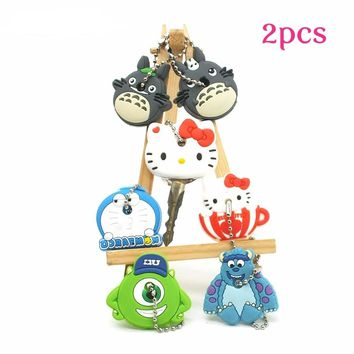 2PCS a set cute Anime Cartoon Doraemon Key chain Silicone  key cover cap women hello kitty Totoro monster  car Keychain