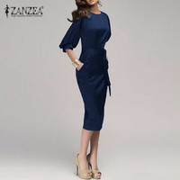 M-6XL New 2017 Women Spring Autumn Work Office Dress Half Sleeve O Neck Elegant Ladies Bodycon Bandage Slim Party Dress Vestidos
