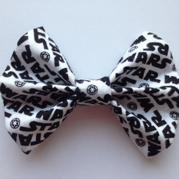 Black and White Star Wars Fabric Hair Bow