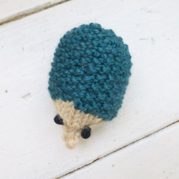 Hedgehog stuffed animal, stuffed hedgehog, hedgehog doll, knit amigirumi hedgehog, teal knit doll, ready to ship, small gift ideas