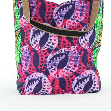 African Print Shopper bags -Pink/Purple Floral