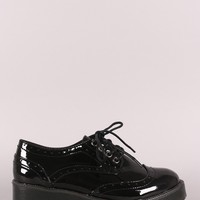 Bamboo Perforated Round Toe Lace Up Oxford